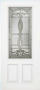 steel door with decorative glass insert
