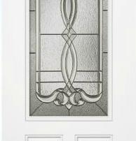 steel door with decorative glass insert